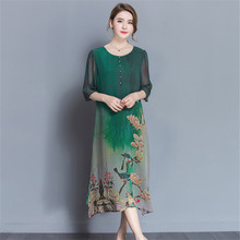 2018 Summer High Quality Silk Chinese Style Dress Women Fashion Clothing 4XL Plus Size Vintage