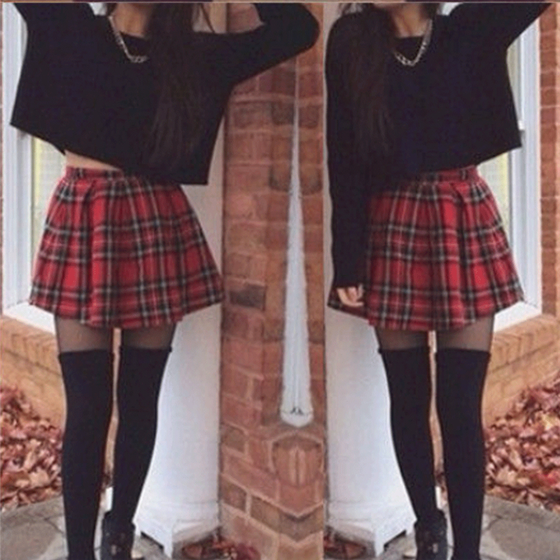 Women Girls High Waist Pleated Skirt School Uniform Skirt Girl Plaid A-Line Flare Skater Short Skirt