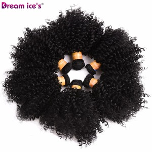 Image 2 - Dream Ices Bouncy Curly Synthetic Weave 6 Pcs/lot Natural Short Hair Welf Bundles Black Hair Weaving 6 Inch