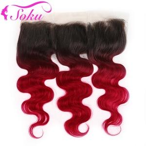 Image 5 - 1B בורגונדי ברזילאי גוף גל שיער טבעי חבילות עם פרונטאלית 13x4 soku 3 pcs OMBRE אדום שיער חבילות עם סגירת ללא רמי שיער