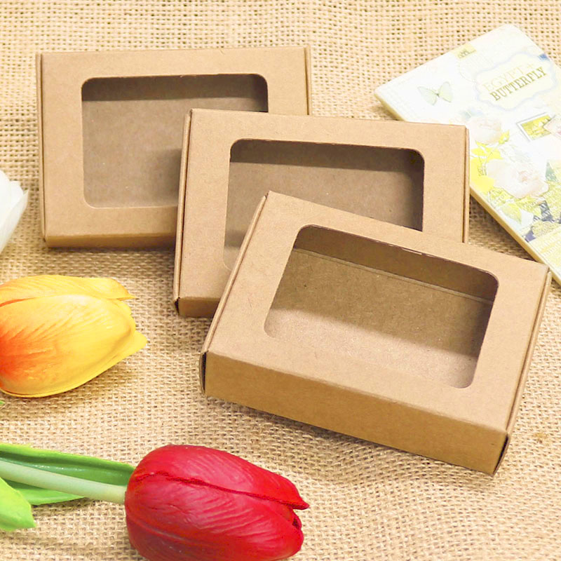 Kraft Paper Gift Boxes With Window 20pcs Handmade Soap Packing Box Jewelry Handicraft Storage Paper Boxes 85x60x22mm