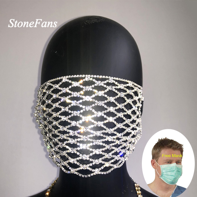 StoneFans Charming Rhinestone Face Mask Mouth Statement Trendy Crystal Dangle Club Mask Party Fashion Jewelry For Women