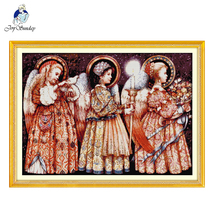Joy SundayChristmas Eve angels DIY Embroidery Set Cross Stitch Needlework Kits Counted Printed on canvas Baby room cotton fabric все цены