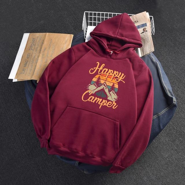 2020 Autumn Winter Hoodies Woman Long Sleeve Sweatshirt Female Hooded Hoody Fleece Happy Camper Woman Hoodies 4