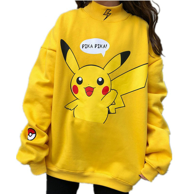 Autumn 2019 Women Hoodies Turtleneck Pikachu Print Sweatshirts Harajuku Fashion Kawaii Tops Cartoon Pokemon Couples Pullovers