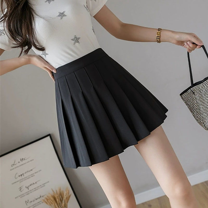 Girls Fashion Short Pleated Solid Korean Slim Fit High Waist Preppy Style Empire Skirts Women Mini A-line Skirt