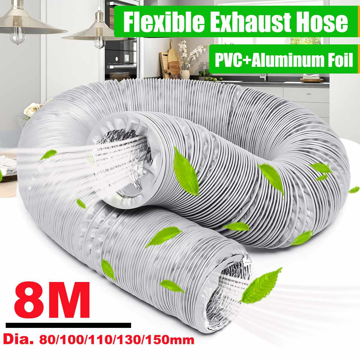 New 8M Flexible Exhaust Vent Hose Tube Air Conditioner Window Vent Pipe 150/130/110/100/80mm
