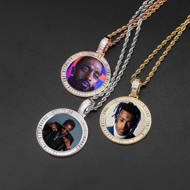 Custom Made Photo Lockets Necklace & Pendant With 4Mm Tennis Chain Gold Silver Cubic Zircon Men Hip Hop Jewelry