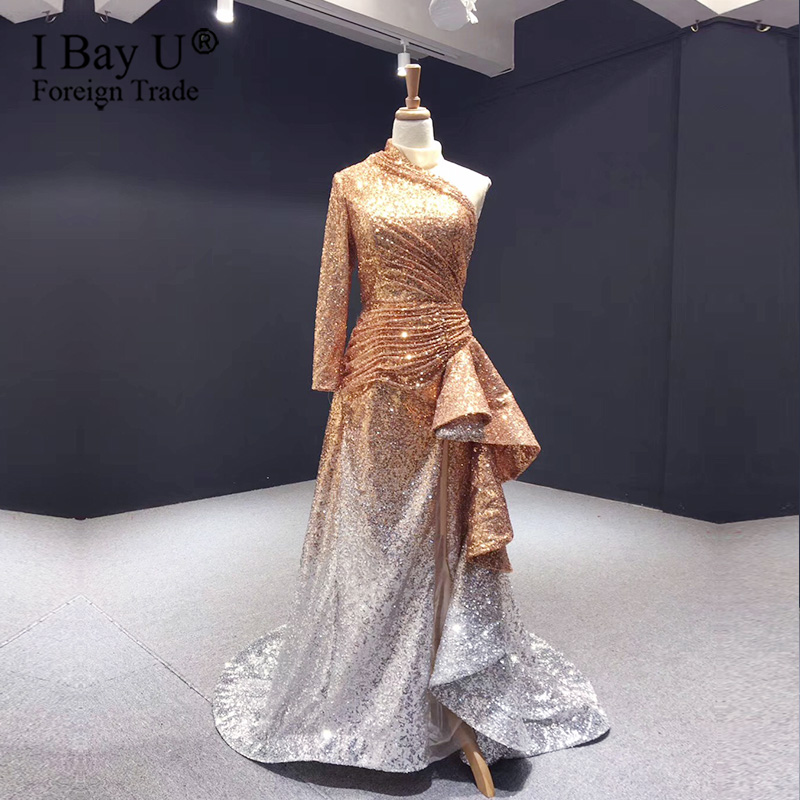 Vintage One Sleeve Sequined Prom Dress Gold Bling Engagement Evening Dress Straight Mermaid Dress