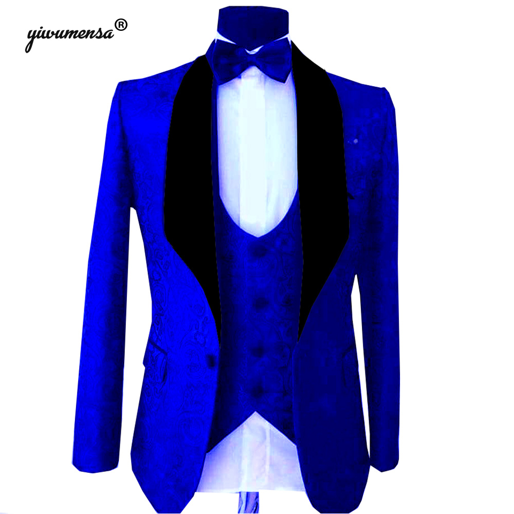 Trajes Para Hombre Royal Blue Wedding Suits For Men Custom Made 3 Pieces White Mens Suits With Pants Men Blazer Groomsmen 2019