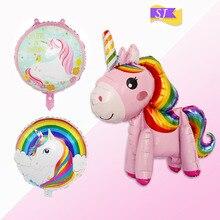 Baby unicorn latex balloon Children Rainbow horse animal aluminum girl birthday party decoration