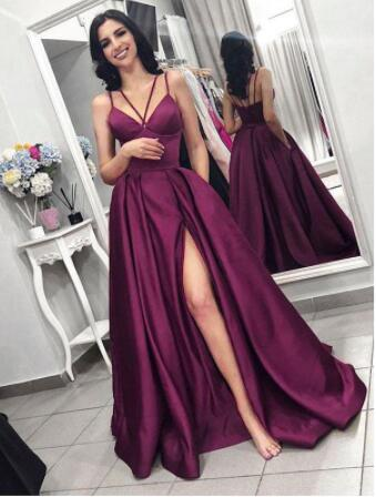 Sparkle  A-line Prom Dresses With Slit Pocket Deep V-Neck Cheap Custom Made Evening Gowns Stain Vestidos De Fiesta De Noche