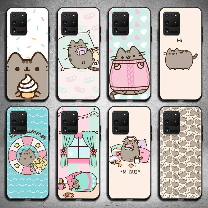 Cute Cartoon Pusheen Cat Phone Case For Samsung Galaxy S21 Plus Ultra S20 FE M11 S8 S9 Plus S10 5G Lite 2020