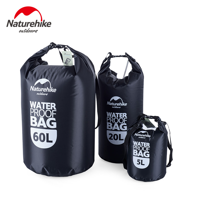 NatureHike Waterproof Bag Dry Bag 5/20/60L Big Capacity Portable Pack Swimming Rafting Diving Canoe Boating Seal Storage Bag