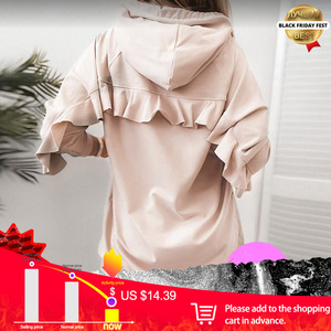 Women Ruffle Mid-length Hooded Sweatshirt-Mini Dress Long Sleeve Patchwork Pullover Sweatshirts Autumn Casual Ladies Hoodies