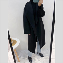 Long-Coat Nordic Cashmere Wool Women Trench Double-Faced Side-Slit Silhouette