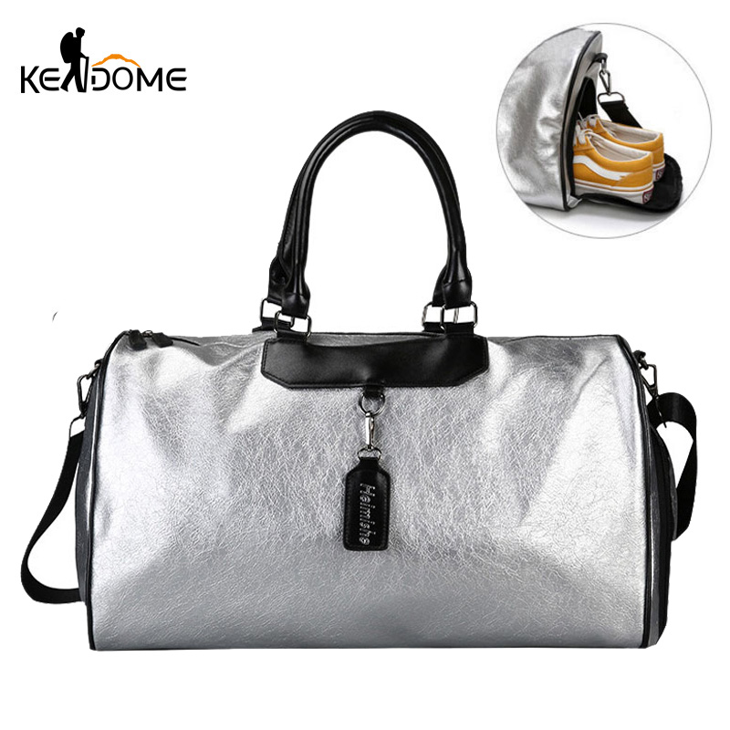 Silver Sports Bag Lady Luggage Bag in Travel Bags with Tag Duffel Gym Bag Leather Women