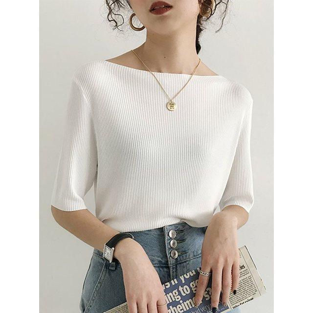 Woman Short Sleeve Knitwear Strentch knitted One word collar Sweater Korean Tops Jumper Slim Shirts