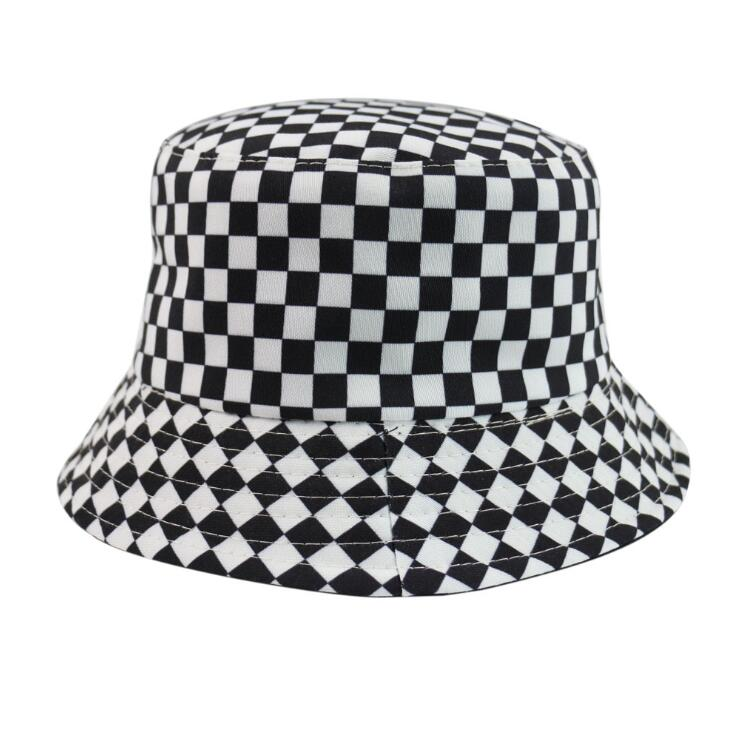 2020 New Two Side Reversible Black White Plaid Bucket Hats Fishing Caps Women Men Bob Hat Summer Fashion Sun Hat