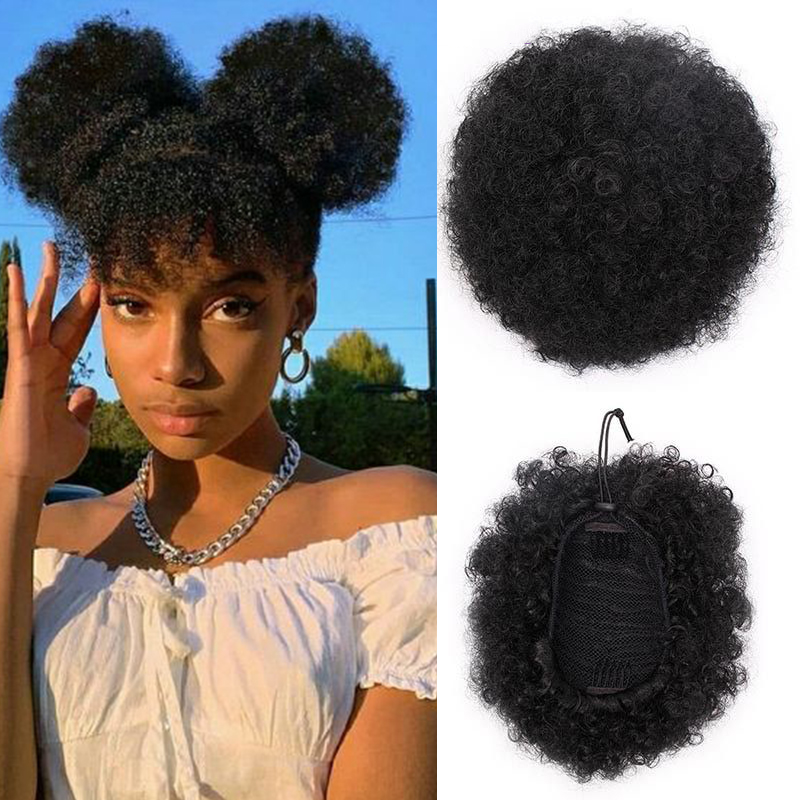 MANWEI 8inch Afro Curly chignon Wig Ponytail Drawstring Short Afro Kinky Pony Tail Clip In on Synthetic Hair Bun Hair Pieces