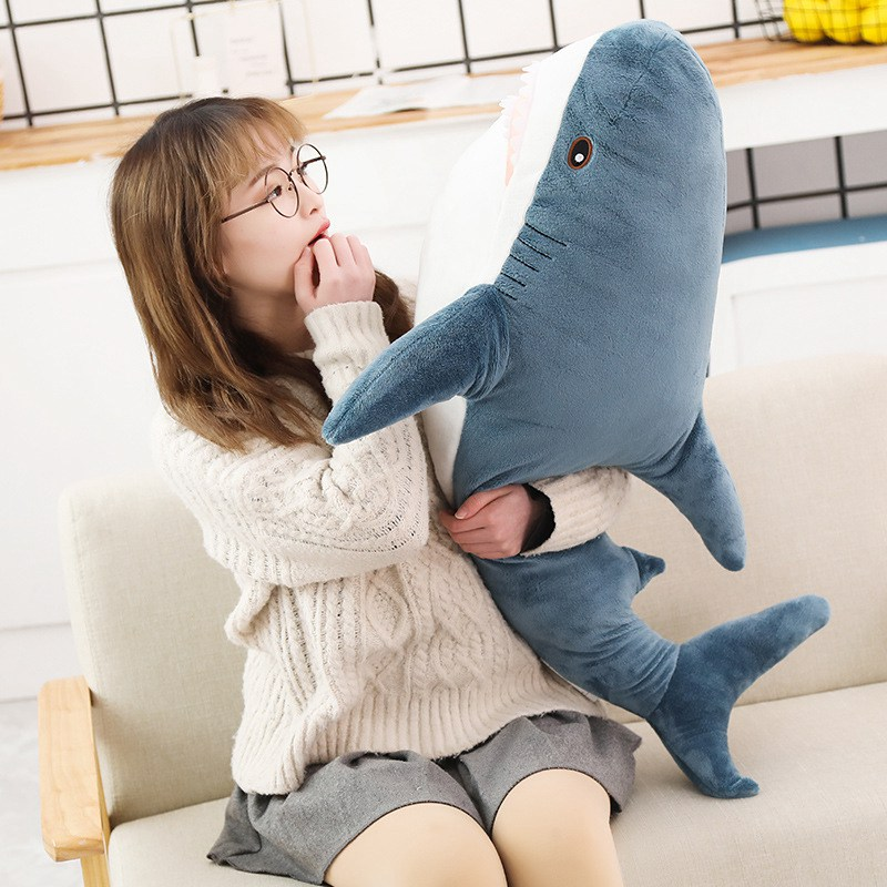 JULY'S SONG 80/100/140CM Shark Plush Toys Popular Sleeping Pillow Cute Stuffed Animal Soft Toys For Kids Travel Companion Toy