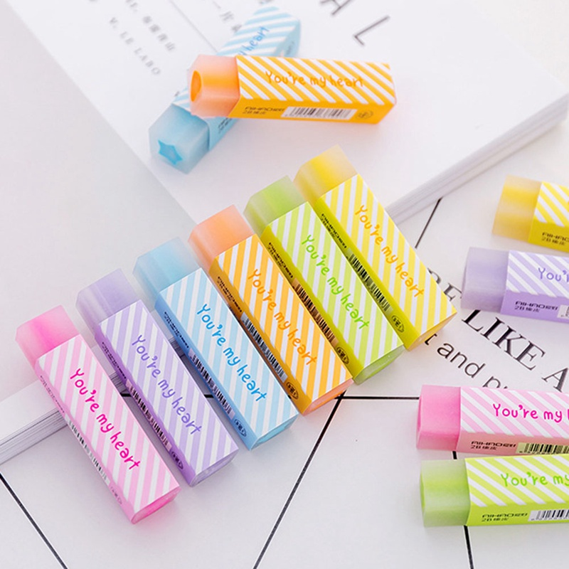 1 Pcs Jelly Color Cute Love Heart Pencil Eraser Long Strip Drawing Quality Pencil Rubber Kids School Supplies Random Color