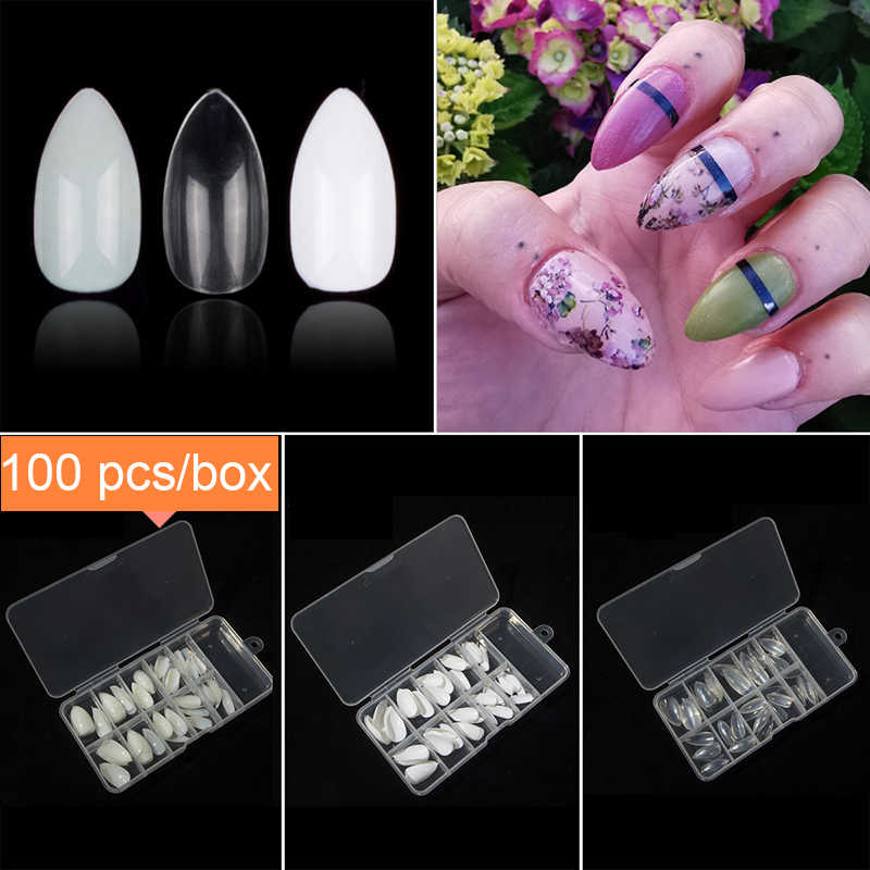 100 Pieces Short Almond Shape False Nail Tips 10 Sizes With Nail Box Full  Cover Stiletto Artificial Fake Nail Tips Manicure