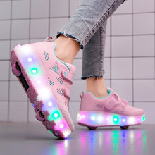 Roller Skate Shoes for Kids Boys Girls LED Wheels Sneakers with On Double Two Wheels Children Boy Girl Skate Sneakers Pink Shoes