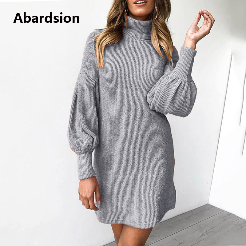 Image 2 - Abardsion Women Sweater Dress Autumn Winter Clothes 2019 Female Casual Loose Pink Puff Long Sleeve Turtleneck Knitted Dresses-in Dresses from Women's Clothing