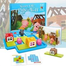 Child Smart Hide&Seek Board Games Montessori Three Little Piggies Little Red Riding Hood  IQ Challenge Toys For Girls Boys