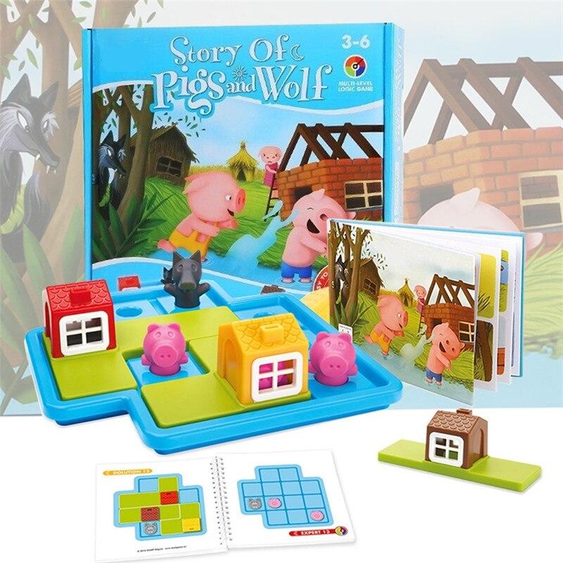 Criança inteligente esconder & procurar jogos de tabuleiro três pequenos piggies pouco vermelho equitação capô iq desafio placa com solução jogo brinquedos para gi
