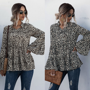 Sexy Leopard Printed Loose Blouse Women Casual Shirts 2020 New Autumn Flare Sleeve Ruffles Splice Lace Up Tops Korean Shirts