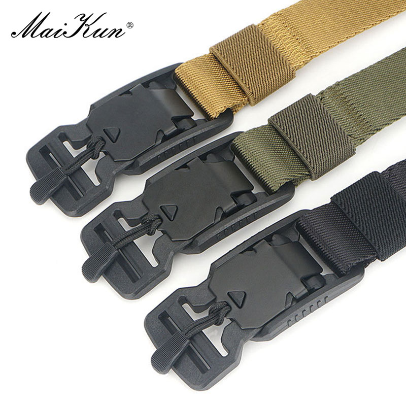 Maikun Belts For Men Military Tactical Nylon Thin Belt For Outdoor Hunting Male Metal Buckle Belts