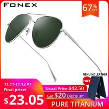 FONEX Pure Titanium Polarized Sunglasses Men Aviation Sun Glasses for Men New Driving Outdoor Aviador UV400 Shades 8507