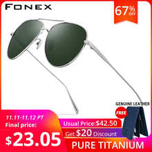 FONEX Reinem Titan Polarisierte Sonnenbrille Männer Luftfahrt Sonnenbrille für Männer Neue Fahren Outdoor Aviador UV400 Shades 8507