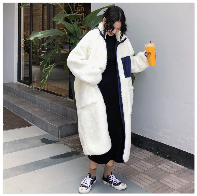 Photo Shoot 2019 New Style Korean-style Lambs Wool Two-sided Pair Joint Cotton Coat Women's Fashion