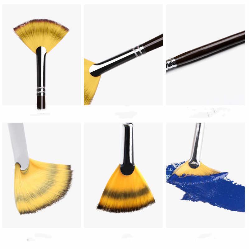 Fan shaped nylonowe włosy gwasz pędzel do akwareli do malowania szkolnego rysunek malarstwo akcesoria do malowania pędzel