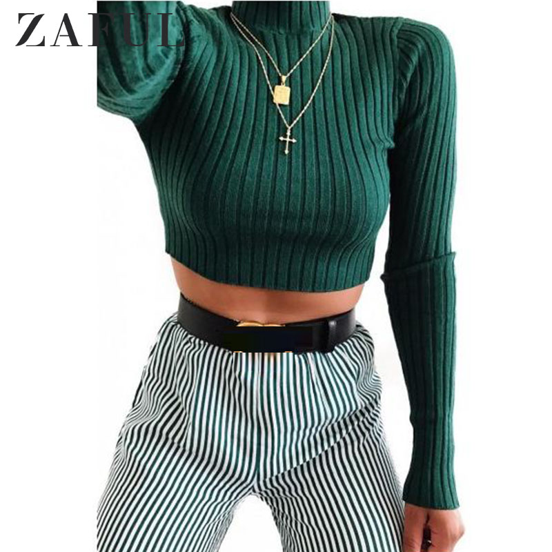 ZAFUL Sweaters Plain Pullover Cropped Sweater Women Short Mock Neck Ribbed Top Micro-Elastic Solid Skinny Pullover Knit Jumper