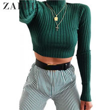ZAFUL Sweaters Plain Pullover Cropped Sweater Women Short Mock Neck Ribbed Top Micro-Elastic Solid Skinny Pullover Knit Jumper(China)