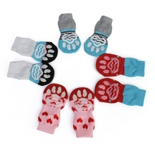 Small Medium Cat Dog Socks 4 Pcs Pet Non Slip Keep Warm Cartoon Prevent Furniture Sofa Scratches Winter Supplies