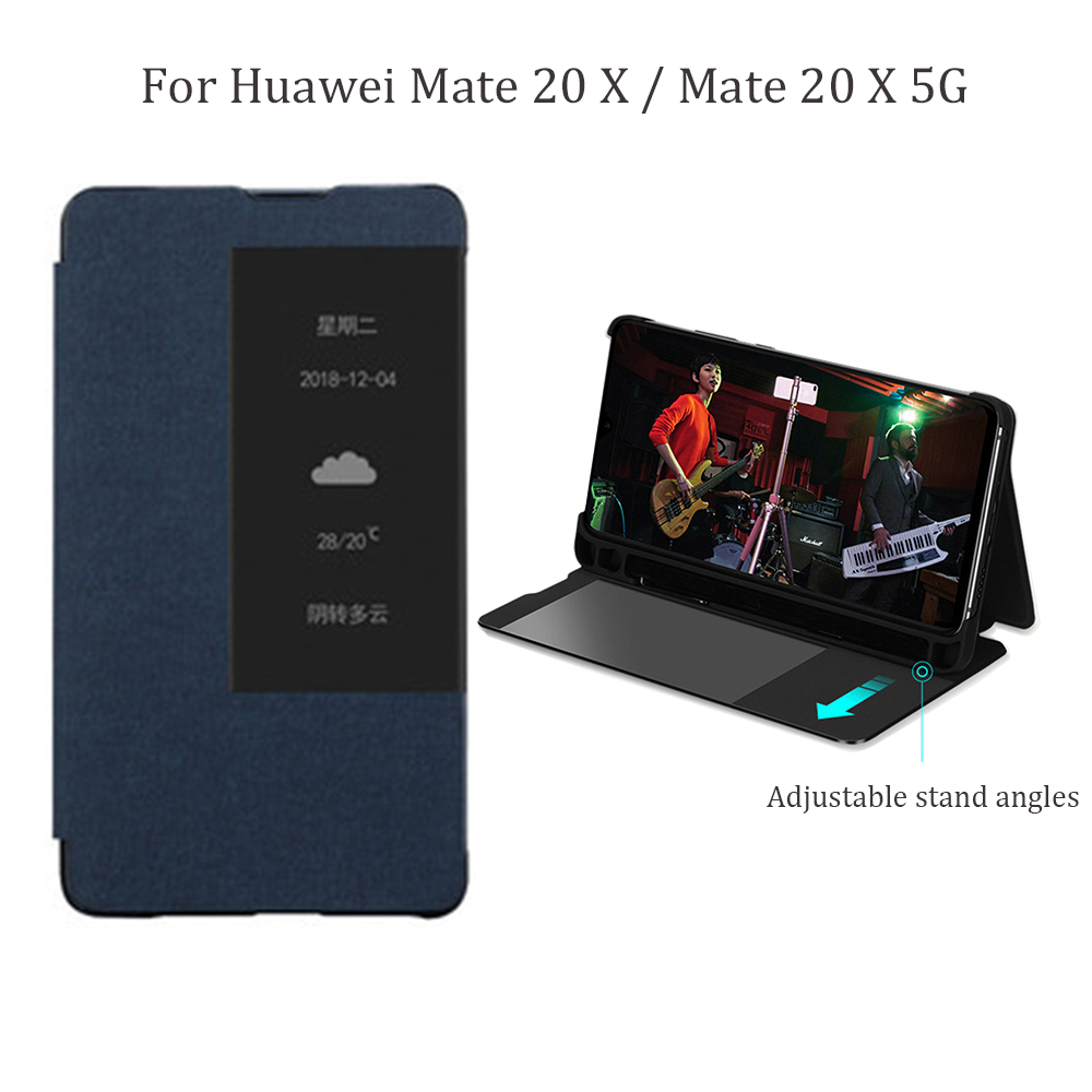 Smart View Window Stand Flip Case Cover with Pen Holder for  Huawei Mate 20 X / Mate 20X 5G Mobile PhonesFlip Cases