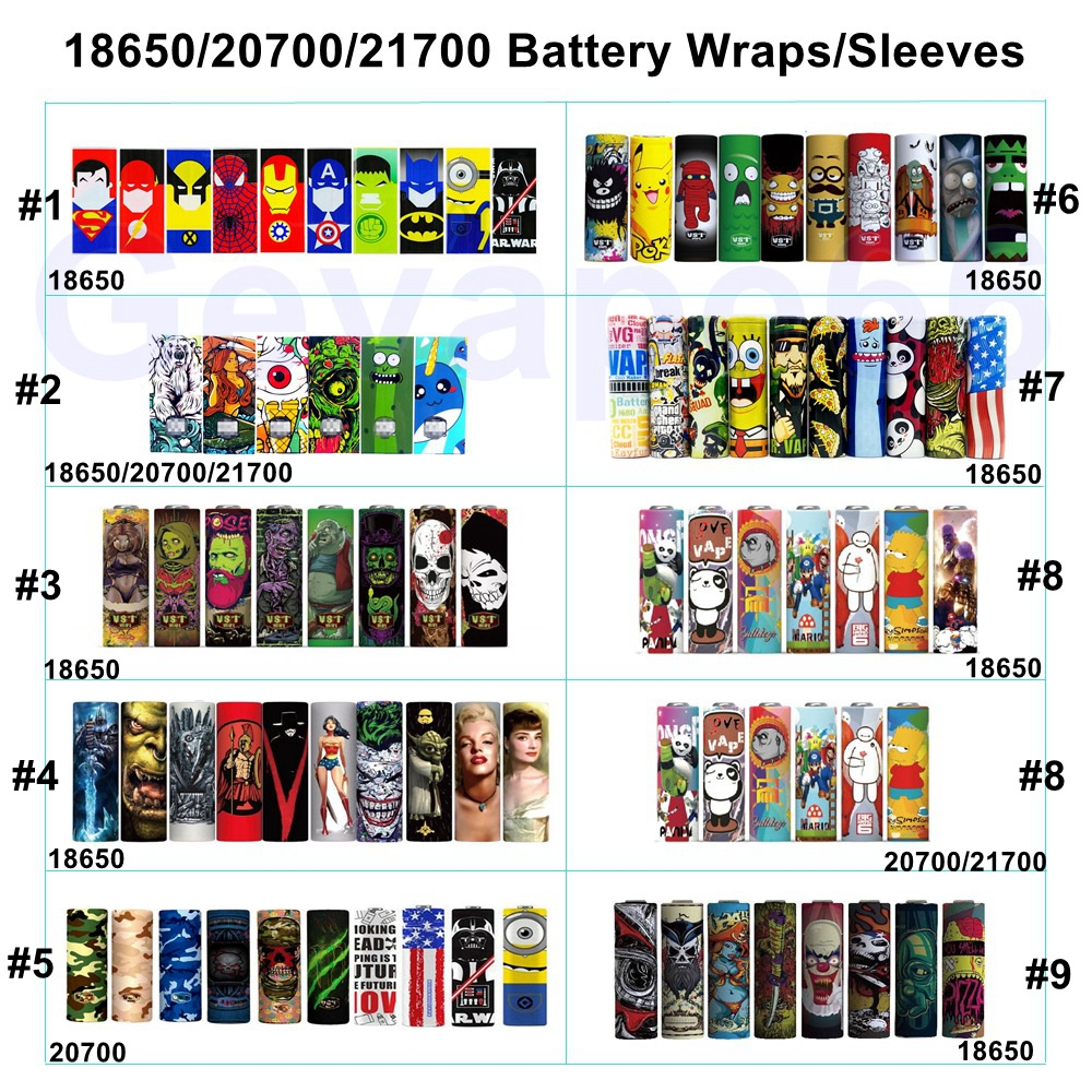 30PCS Pack 18650 20700 21700 Battery Sticker 18650 Battery Wrap Wrapper Protective Skin Sleeve PVC Heat Shrinkable Insulator