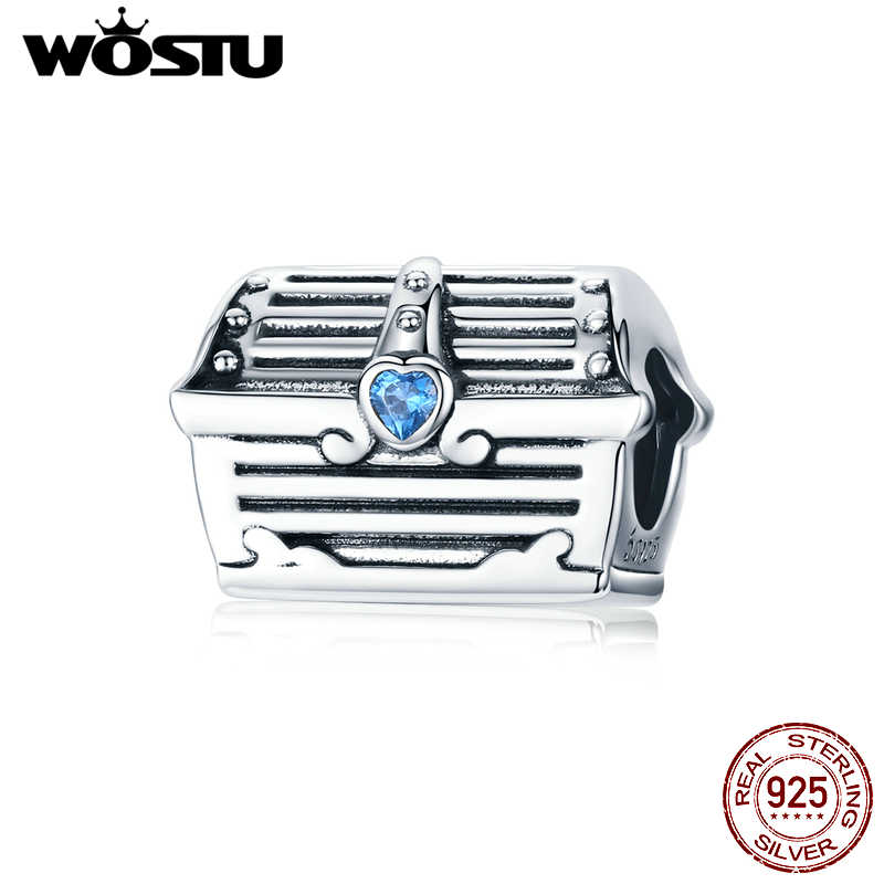 WOSTU 100% 925 Sterling Silver Treasure Chest Beads Blue Zircon Treasure Box Charm Fit Original Bracelet Pendant Jewelry CTC158