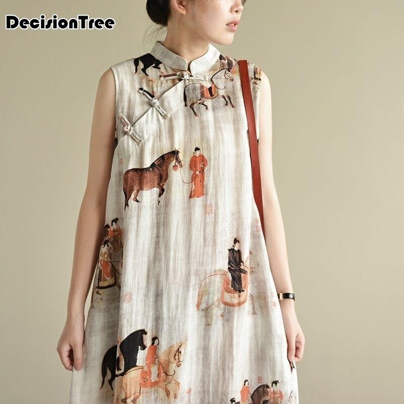 2020 Sleeveless Chinese Women Long Cheongsam Dress Linen Qipao Chinese Traditional Dress Long Dress Qipao  Party Wear