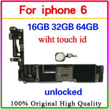 цены на For iPhone 6 4.7inch Motherboard Unlock Mainboard With/without Touch ID Full Function 100% Original IOS Installed Logic Board  в интернет-магазинах