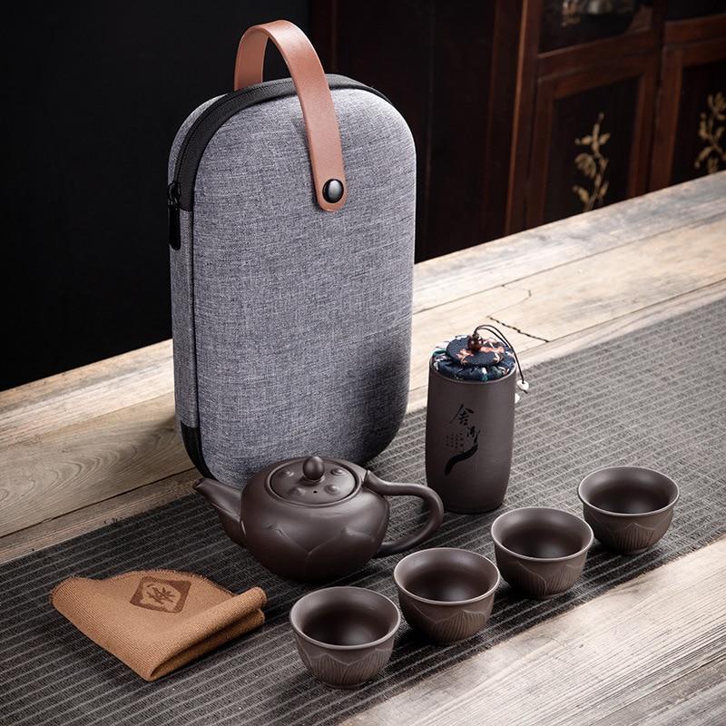 Purple Clay Kung Fu Teapot 230ml Chinese Porcelain Yixing Zisha Tea Pot 4 Cups Kung Fu Travel Tea Cup Handmade Tea Pot Cup Set 1
