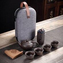 Tetera de arcilla púrpura kungfú, 230ml, porcelana china Zisha Yixing, tetera, 4 tazas de viaje Kung Fu, hecha a mano taza de té, juego de tazas de té