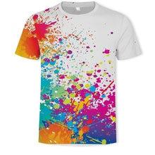 Neutral white paint splash colorful shirt 3D graphics printing men's and women's short-sleeved T-shirt