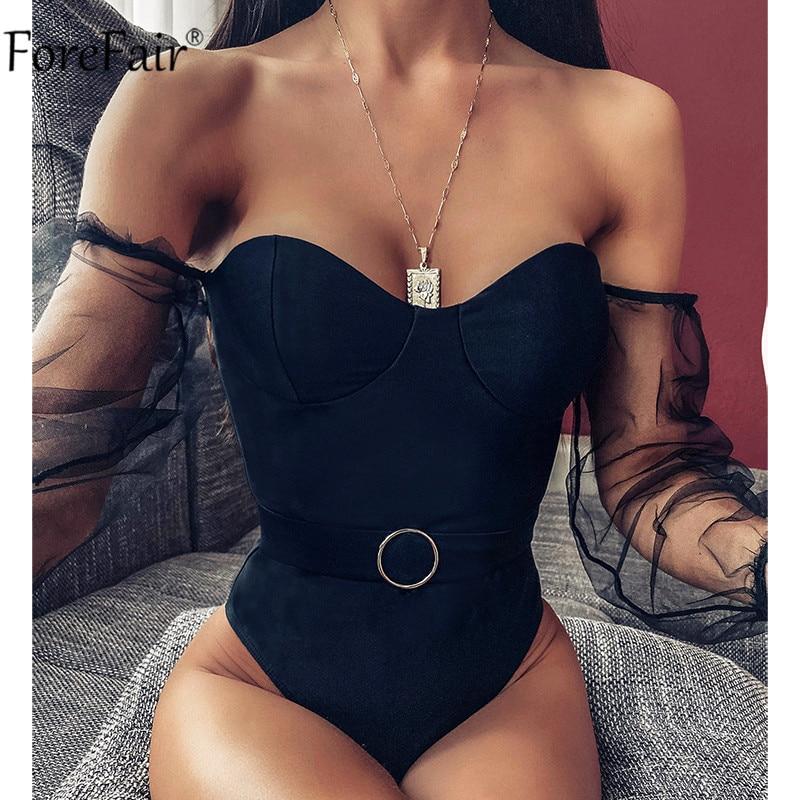 Forefair 2020 Black Mesh One Piece Swimsuit Women Summer Beach Belt Sexy Bikini Long Sleeve Push Up Swimwear Strapless