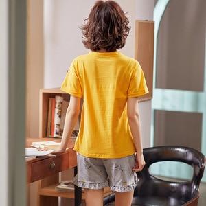 Image 4 - シンプルなパジャマパジャマ女性のパジャマ綿半袖女性のスパースターセットホームウェアかわいい漫画ラウンジ着用tシャツサイズについて